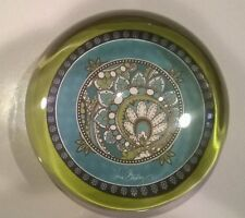 Vera Bradley Round Half Globe Solid Glass Paperweight Blue Green Paisley Pattern