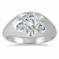 1 Ct Round Cut Diamond Solitaire Engagement Men's Ring 14K White Gold Finish