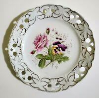 "Victoria Carlsbad Austria Reticulated Plate Lattice Flowers 8.5"""