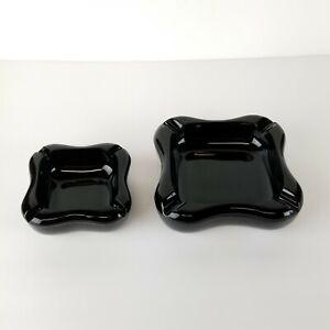 Art Deco Black Glass Ashtray Cigarette Chunky Heavy Nesting Organic Set 2 6in