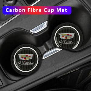 2PCS Silicone Carbon Fiber Car Cup Holder Pad Mat for CADILLAC Anti-Slip