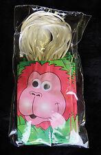 "Set of 12 Small Party Bags 3"" x 4"" Orange Smiling Gorilla w/ Wiggley Eyes Nip"