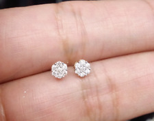 STEAL DEAL! 10K Gold Genuine Diamond Round Cluster Studs Earrings .13ct 3.5 MM