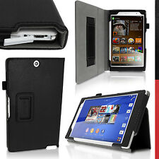 Nero Ecopelle Custodia per Sony Xperia Z3 Tablet Compact Case Cover + Pellicola
