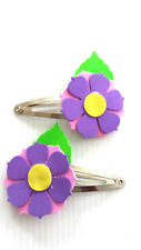 Hair clips - flower clips pink with purple (FFC02)