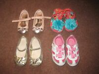 Large Bundle Girls Shoes Infant Size 4, Sandals, Trainers, Party, slippers  NEXT