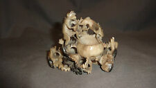 "Attractive Carved Chinese Hard Stone Brush Pot - 4"" x 3"""