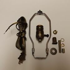 "TABLE LAMP WIRING KIT WITH 3-WAY SOCKET,8"" HARP ANITQUE BRASS CORD SET 30551A8JB"