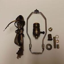 "TABLE LAMP WIRING KIT W/ 3-WAY SOCKET,10"" HARP ANITQUE BRASS CORD SET 30551A10JB"