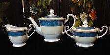 NORITAKE China TEAPOT Tea Pot CREAM & COVERED SUGAR BOWL Teal Blue GOLD FILIGREE