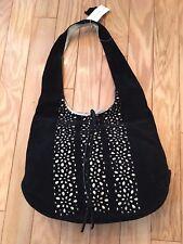 Lord & Taylor Suede Shoulder Bag/Purse/Handbag black with silhouette cutouts NWT