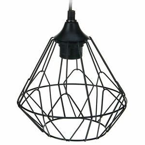 6x Modern Black Geometric Metal Wire Hanging Ceiling Light Pendant Round Fixture