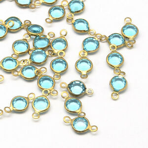 10 Connector Links Glass Charms Blue Glass Connectors Brass 2 Hole