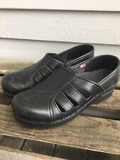 Sanita Black Leather Cut-out Clogs Sz.39