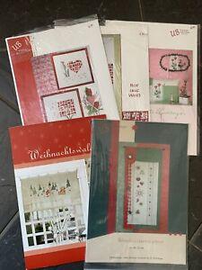 5 x Kreuzstichvorlagen UB Design +Acufactum  Weihnachten + Blumen Neu/unbenutzt