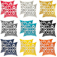 TreeWool, (2 Pack) Cotton Canvas Squares Geo Accent Decorative Throw Pillowcase