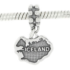 STERLING SILVER DANGLE EUROPEAN BEAD TRAVEL COUNTRY ICELAND BEAD CHARM