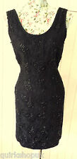 PRECIS PETITE black ANTIQUE LACE inspired BEADED cocktail party dress 8 - 10 38