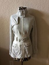 Lululemon Cream Off White Black Striped Jacket Belted 8