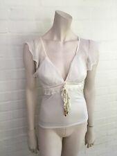 ROBERTO CAVALLI White silk blend t shirt top Size I 38 UK 6 US 2 XS
