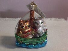 "Old World Chistmas ""Owl & Pussy Cat"" Glass Ornament"