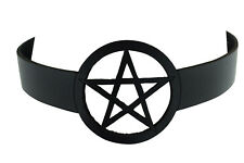 Gothic Witch Wicca Black Leather Pentagram Laser Cut Choker Necklace