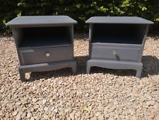 PAIR OF VINTAGE SOLID MAHOGANY STAG  BEDSIDE TABLES IN GRAPHITE BY ANNIE SLOAN
