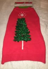 Holiday Pet Dog Costume Ugly Sweater Christmas Tree with Bells NEW Med.