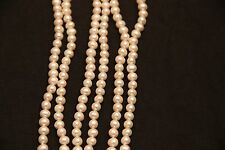 """Dr. Pearl Charming 50"""" Long AA 6.0-7.0 mm White Freshwater Pearl Necklace"""