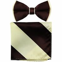 New Men's Two Tones Pre-tied Bow Tie and Hankie Set BROWN BEIGE