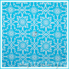 BonEful Fabric FQ Cotton Quilt VTG Aqua Blue White Flower Dot Jennifer Paganelli