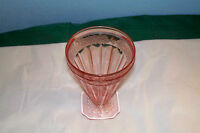 "VINTAGE ADAM PINK DEPRESSION GLASS FOOTED TUMBLER 4 1/2"" JEANNETTE"