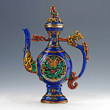 Fine Old Chinese Handcrafted Dragon Motif Cloisonne Teapot Kylin Lid XuanDe Mark