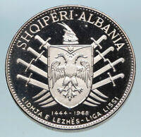 1960 ALBANIA Skanderbeg Antique Leader League of Lezhe Silver 5 Leke Coin i84054