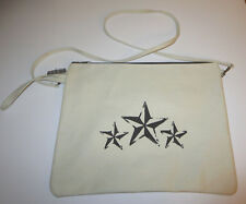 Stars Canvas Cross Body Purse Laminated Interior With Wristlet New Daily Bag