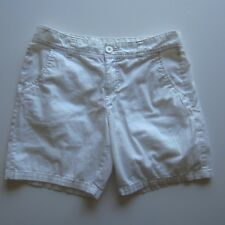 Cute Flat Front Faded Glory White Shorts Women's 4 Cotton Stretch