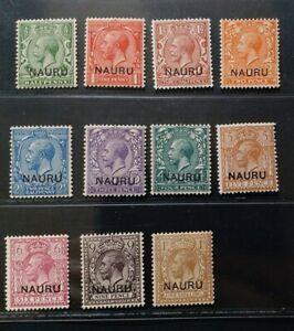NAURU 1916 KG V 1/2d to 1s SG 1 - 12 Sc 1 - 12 overprinted set 11 MNH