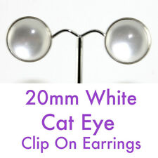 20mm White Cat Eye Antique Silver Framed Round Clip on Earrings - *Free Post*