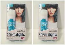 2 AS SEEN ON TV CHROMALIGHTS Instant Metallic Blue Color Spray Hair Color
