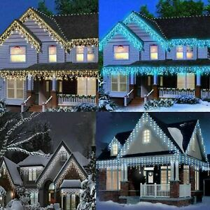 200 LED Icicle Lights Snowing Effects Xmas Chaser Outdoor Ferry Christmas Roof