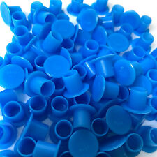 "100 X BLUE ""NO HOLDER FLAT BASE"" TATTOO INK CAPS CUPS"