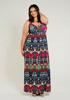 Plus Size Maxi Dress 1X 2X SWAK Empire Waist Sleeveless Polyester Blend Print
