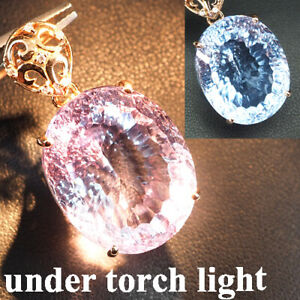 CHANGE BLUE PURPLE SPINEL CONCAVE 40.20CT. 925 STERLING SILVER ROSE GOLD PENDANT