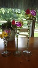 Large Graduated Candle Holders Hand Painted Tall Round Floral painted center pie