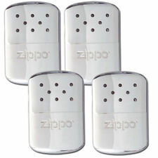 Zippo Set of 4 Chrome Refillable Deluxe Hand Warmers with Fill Cup & Warming Bag