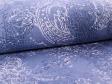 0,5m Vintage Baumwolle Stoff beschichtet Acryl, Wachstuch, Paisley Muster Blau