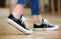 Casual Womens Sneakers Classic Lace Up Canvas Flat Fashion Plimsoll Shoes