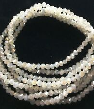 """TWO (2) 16"""" Strand OPAL AB FACETED 4mm Twist - Machine Cut Crystal"""
