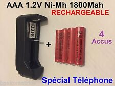 4 Piles Accus Batterie Rechargeable AAA 1800mAh 1.2V Ni-MH + CHARGEUR