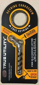 TRUE UTILITY TwistStick EDC Keyring Corkscrew TU248K New + Keyring
